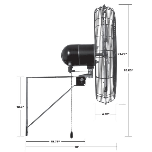 Hurricane Pro Commercial Grade Oscillating Wall Mount Fan 20 Inch Dimensions