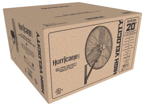 Hurricane Pro Commercial Grade Oscillating Wall Mount Fan 20 Inch Packaging
